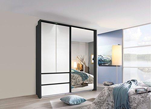 Kleiderschrank, Schlafzimmerschrank, Wäscheschrank, Schwebetürenschrank, Dielenschrank, 3-türig, Schubladen, grau-metallic, alpinweiß, Spiegel
