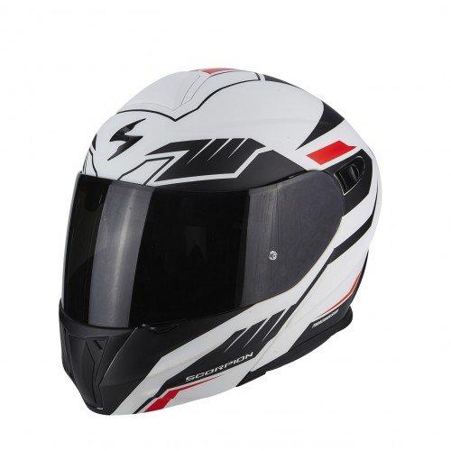 Scorpion Moto Casco Exo 920Shuttle Mate, Color blanco/negro/rojo, talla XS