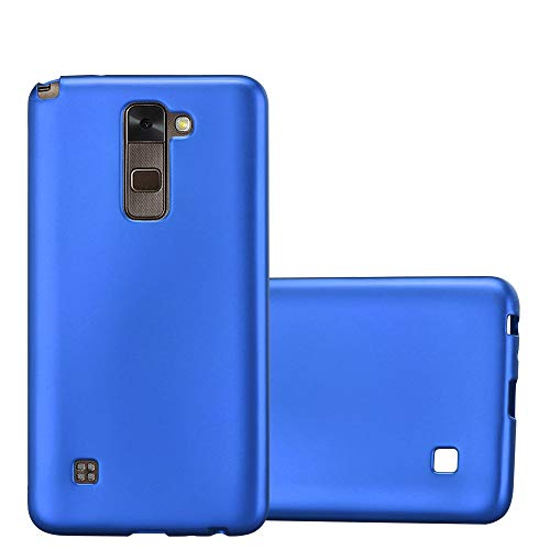 Cadorabo Hülle für LG Stylus 2 - Hülle in METALLIC BLAU – Handyhülle aus TPU Silikon im Matt Metallic Design - Silikonhülle Schutzhülle Ultra Slim Soft Back Cover Case Bumper