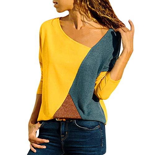 UYSDF Damen V-Ausschnitt Spleißen Farbe Kollision Lange Ärmel Plus Größe Einfach Tops Bluse 2019 (Cop Kostüme Für Jugendliche)