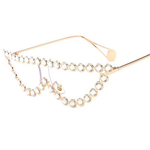Yangjing-hl Startseite Mode Sonnenbrillen Metall Diamant Dreieck Katzenaugen Damen Sonnenbrille weiß flach