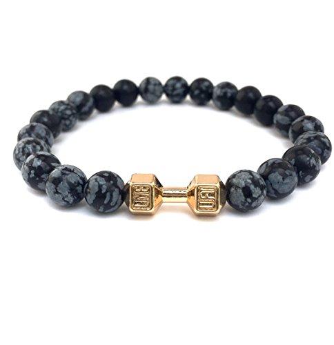 GOOD.designs Fitness Perlen-Armband aus grauen Schneeflocken-Obsidian Natursteinen, Hantel Anhänger in Gold