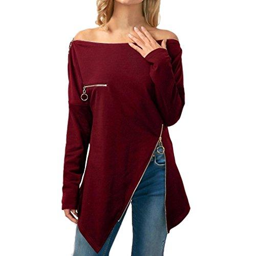 TWIFER Slash Neck Asymmetrisches Damen T-Shirt mit Zipper Schulterfrei Tops Bluse (Kostüm, Woman Wonder Mädchen Kleines)