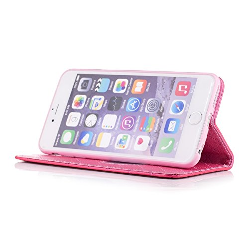 iPhone 6 Plus Custodia, iPhone 6S Plus Cover Wallet, SainCat Custodia in Pelle Cover per iPhone 6/6S Plus, Anti-Scratch Protettiva Caso Elegante Creativa Dipinto Pattern Design PU Leather Flip Portafo Rose