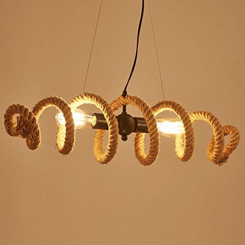BAYCHEER Industrielampe Rustik Seil Kronleuchter 2 Flammige Lampe Länge 70cm Welle Form Bar Loft Design Leuchte