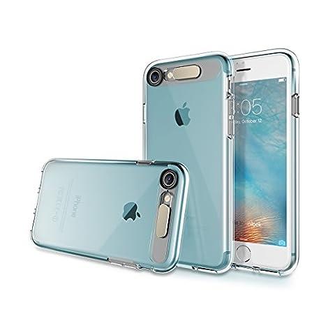 Felsen Iphone 7/7 Plus Fall mit LED-Blitz TPU heller Schlauch-Kasten PC Backpanel + weicher TPU aller runder Schutz ( Color : Trans-Blue , Size : Iphone7 Plus )