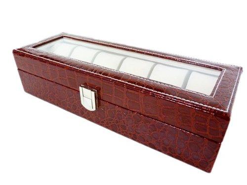 Hochwertige Aufbewahrungsbox für 6 Uhren Kroko Kirsch Rot 00222