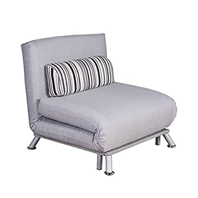 Homcom Fold Out Futon Sofa Bed Single Sofa Sleeper Couch Lounger Guest Bed w/ Bedding Pillow Grey (folding mattress + steel frame) - low-cost UK sofabed store.