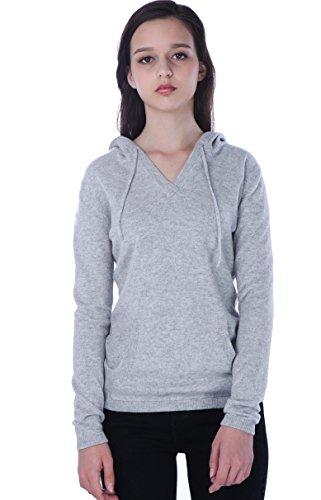 100% Kaschmir V-Ausschnitt Kordelzug Hoodie Pullover für Frauen - von CASHMERE 4 U (Large, Argent (Garu)) - 2