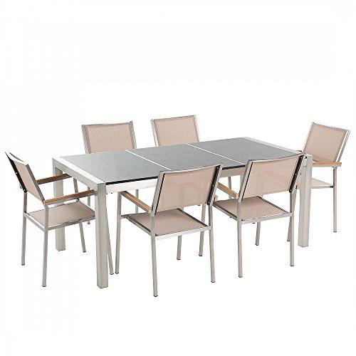 Gartenmöbel - Granitgartentisch 180 cm grau poliert mit 6 beigen Stühlen - GROSSETO