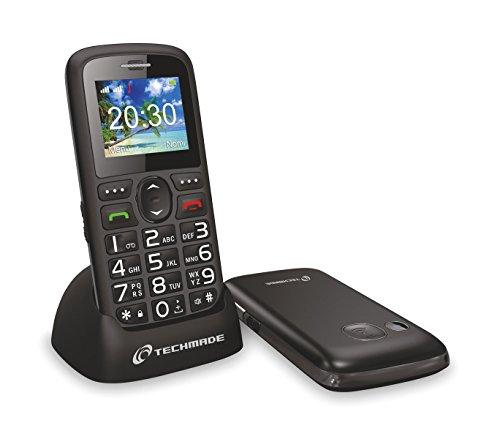 TM-C08BK Tel  fono para ancianos TECHMADE bot  n sos y base de carga - Negro