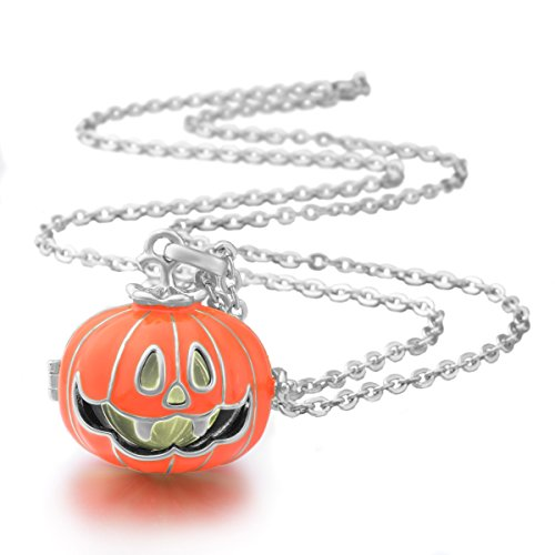 Eudora Harmony Ball ciondolo zucca luminosa Chime sfera Hallowmas giorno regalo 35 cm, placcato argento, colore: Orange Pendant+Silver Chain, cod. H222A34-18-NL35-45 - Piccola Zucca Baby Shower