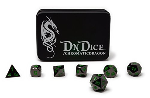 Chromatic Dragon - Solid Metal Poly Dice Set By DnDice - Available in Dark Chrome & Red, Green or Purple with Dragon Insignia Presentation Tin (Chromatic Dragon Green) - Dragon Dark Metal