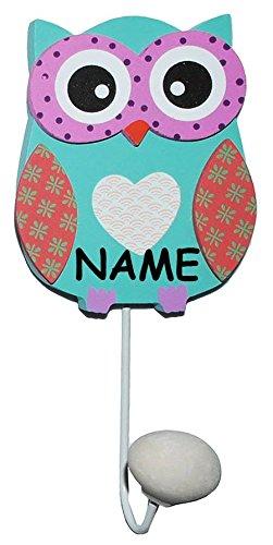 1 Stück: Eule Garderobenhaken aus Holz  Metall - incl. Namen - mit 1 Kleiderhaken Kind Wandgarderobe Wandhaken Kindergarderobe - für Innen und Außen - bunte Eule Vögel Tiere