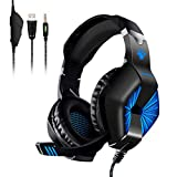 Gaming Headset, ELEGIANT Gaming Kopfhörer Bügelkopfhörer Over Ear Headphone LED Light Bass Stereo rein Surround Tonqualität 3.5MM Klinke mit drehbarem Mikrofon für Pro PS4 Xbox One Switch PC Computer Laptop Tablet Mac Handys Smartphone