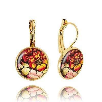 Boucles d'Oreilles Gouttes avec des Fleurs du Style Russe de couleur Noir et Rouge et Rose; Cadeau Amitié pour Femme; Dimension 2.8x1.4cm