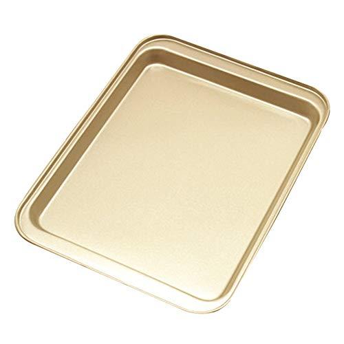 Kentop Edelstahl Backblech mit Antihaft-Beschichtung Bakeware Cookie Kuchenblech Toaster Plätzchen Ofen Pfanne Tablett für die Küche zu Hause size 33×23×2cm (Gold) (Toaster Ofen Backen Pfanne)