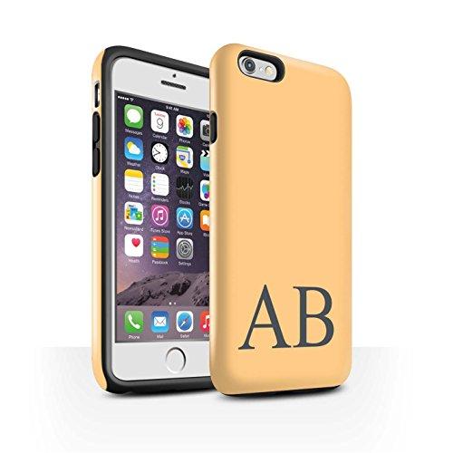 Personalisiert Pastell Monogramm Glanz Zähen Hülle für Apple iPhone 6 / Rosa Design / Initiale/Name/Text Stoßfest Schutzhülle/Case/Etui Orange