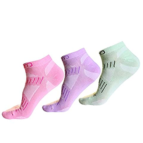 3 Pack Breathable Invisible Ankle Socks - Hiking Short Crew Sock - LowCutSocks - Walking Running Seamless Sock - Lightweight No Show Sock with wicking moisture - Fit for Climbing Cycling Camping Trekking Outdoor Sports Travel - Women Size UK 4-7 EUR 35-39