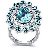 """elufly """"Whirlpool der Liebe"""" Echte Platin Ehering Verlobungsring Oval Kristall Edelstein Ringe für Damen Gr. L"""