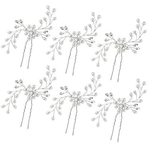 6 Pezzi Fermagli per Capelli da Sposa Accessori per Capelli Forma di Fiore con finte Perle e Strass Party per Donne e Ragazze