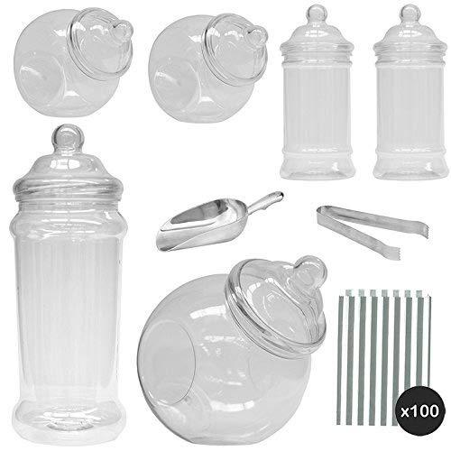 """Kit\""""Pick & Mix\"""" para puesto de chucherías y dulces, de estilo victoriano; conjunto de 6 frascos más bolsas de rayas plateadas"""