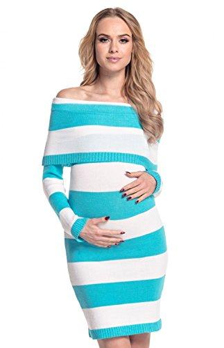 Happy Mama Femme Maternité. Robe de grossesse à rayures encolure Bardot. 887p Blanc & Cyan