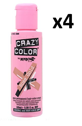 Permanent Rose (4 X Crazy Color Renbow Semi-Permanent Hair Colour Cream Dye 100ml Box of Four-Rose Gold)