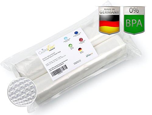Foodsaver Beutel Rollen (PREMIUM Qualität Vakuum-Rollen 2 Rollen 30x600 cm von GustoVac Premium dem Original - für alle Vakuumiergeräte - Optimal für Küche, Haushalt, Sous-Vide / Vakuum-Garen, Einfrieren und lange Haltbarkeit - PA/PE Fleece-Strukturfolie - 90µ, Made in Germany)