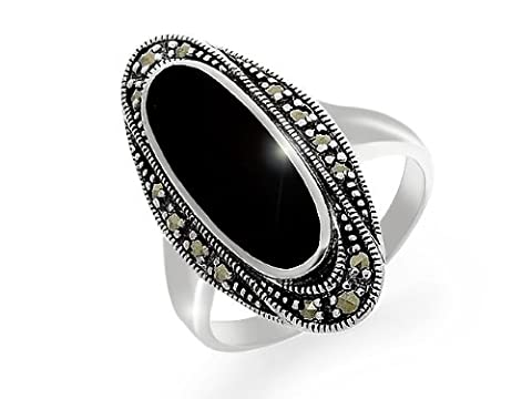 Esse Marcasite Sterling Silver Oval Art Deco Black Onyx and Marcasite Dress Ring - Size Q