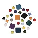 Rayher Mosaiksteine-Mischung (circa395 Stück), 10x10mm, 20x20mm, ø 12mm, Eimer 500g, Bunt, Glas, 13.3 x 13.3 x 6.3 cm