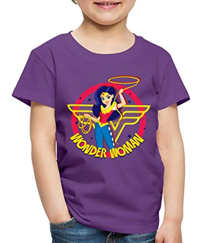 Spreadshirt DC Super Hero Girls Wonder Woman Lasso Kinder Premium T-Shirt, 110/116 (4 Jahre), Lila (Woman Kids Shirt Wonder)