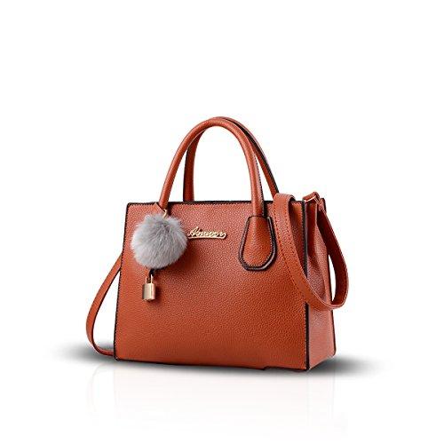 NICOLE&DORIS Mode Frauen Handtasche Crossbody Tote Einkaufstasche Schultertasche PU Khaki Khaki