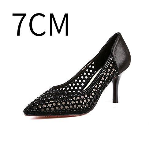 Estate strass scarpe a punta in pelle/Maglia cavo garza tacchi alti A