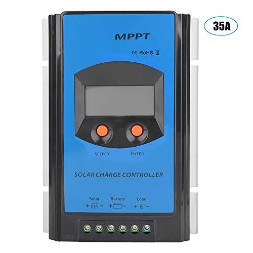KIMISS 12/24 / 48V Universal MPPT Solarladeregler mit übersichtlicher LCD Anzeige, wasserdichter Solarpaneel Akkumulator mit IP32 Anschluss, Maximum Power Point Tracking für PV Photovoltaikanlage(25A)