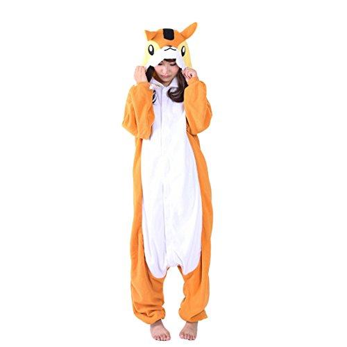 Casa Pyjamas Tieroutfit Schlafanzug Tier Onesies Sleepsuit mit Kapuze Erwachsene Unisex Overall Halloween Kostüm (Medium, Eichhörnchen)