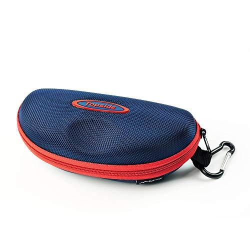 TOPSIDE TOPSIDE Brillenetui (blau) Hardcase stoßabsorbierend mit Reißverschluss - Inkl. Karabinerhaken, Brillenband, Aufbewahrungsbeutel & Mikrofaser-Reinigungstuc