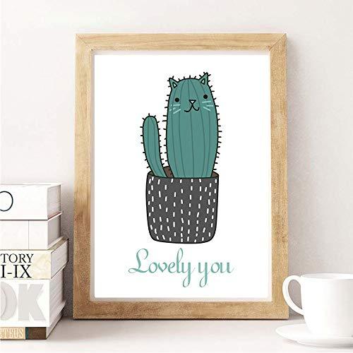 Wsxwga Minimalistische Cartoon Magische Katze Trinken Schöne Kaktus Schlag Fisch Leinwand Kunst Malerei Wandbilder Für Kinderzimmer Wohnkultur Kein Rahmen50 * 70 Cm