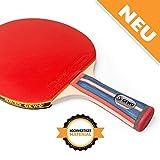 GEWO Unisex- Erwachsene Tischtennis Profis und Hobbyspieler 1.8mm ITTF Lion Belag Tischtennisschläger, Blau/Rot, One Size