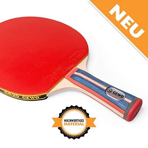GEWO Erwachsene Tischtennis Profis und Hobbyspieler 1.8mm ITTF Lion Belag Tischtennisschläger, Blau/Rot, One Size