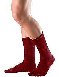 Knitido Everyday Essentials Chaussettes mi-mollet, les chaussettes à doigts en coton