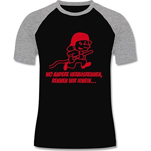 Feuerwehr - Feuerwehr - Wo andere herrausrennen - zweifarbiges Baseballshirt für Männer Schwarz/Grau Meliert