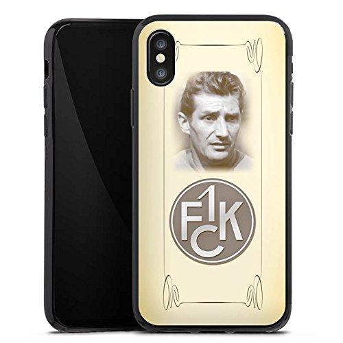 Apple iPhone X Silikon Hülle Case Schutzhülle 1. FC Kaiserslautern Fanartikel Fritz Walter Fußball Silikon Case schwarz
