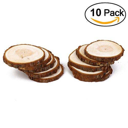 OULII Madera rodajas rebanadas de registro disco madera para BRICOLAJE manualidades boda centros de mesa 10pcs 8-9CM