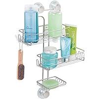mDesign cesta de ducha con tres étages- estante de ducha con ventosa para shampoing, manopla de baño etc...–plateado–montaje fácil