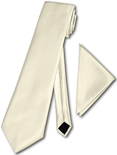Herren Krawatte klassisch mit Einstecktuch Klassik Anzug Satinkrawatte - 30 Farben (Ivory)