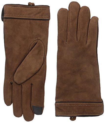 Adrienne Vittadini Women's Soft Suede Micropile Lined Touchscreen Gloves, Cognac, Medium