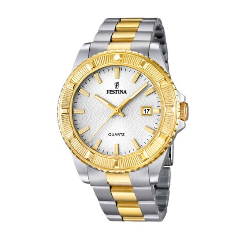 Festina Unisex Quartz Watch with Silver Dial Analogue Display and Two Tone Stainless Steel Bracelet F16683/1