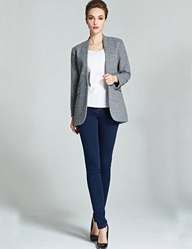 Camii Mia Damen Button Up mit Single Breasted Wolle Pea Coat Jacke Grau
