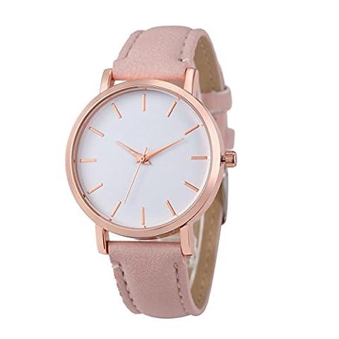 Bovake Mode Uhren Leder Edelstahl Männer Frauen Stahl Analog Quartz Armbanduhr (Pink)
